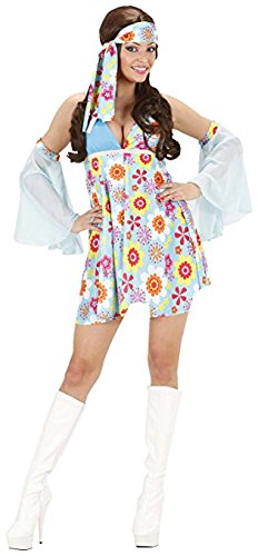 Ladies 70s Girl Light Blue Costume Large UK 14 to16 for 1970s Fancy Dress (70s Characters Fancy Dress)