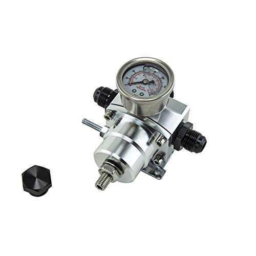 Turbocharger Parts Fuel Pressure Regulator Valve Universal Square Supercharger Vehicle with Gauge Car Modification Accessories Car Modification (Color : Silver-Free):