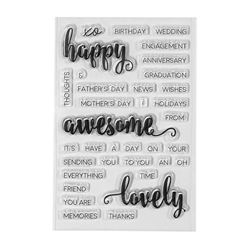 (Spellbinders STP-002 Clear Stamp Set Happy Sentiments,)