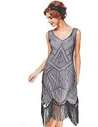 xs-3xl Womens Roaring 20s V-Neck Gatsby Dresses- Vintage Inpired Sequin Beaded