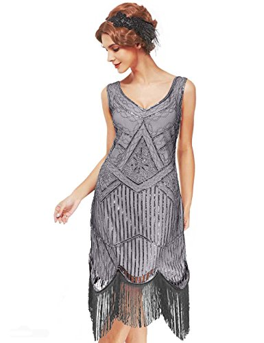 Women's Roaring 20s V-Neck Gatsby Dresses- Vintage Inpired Sequin beaded Flapper Dresses (S, grey)