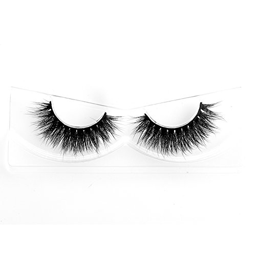 Lunamoon 3D Mink False Eyelashes Siberian Mink Fur Long Thick Hand-made Reusable Eyelashes Natural Look for Women's Makeup 1 Pair Pack (Angelina)