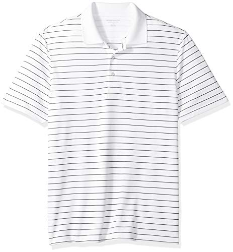 Amazon Essentials Men's Regular-Fit Quick-Dry Stripe Golf Polo Shirt, White, ()