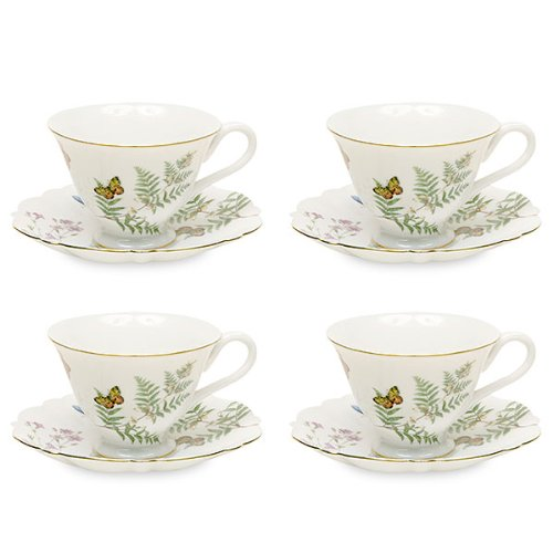 Gracie China Butterfly Porcelain 7-Ounce Tea Cup and Saucer Set of 4 by Gracie China by Coastline Imports