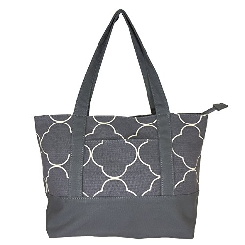 NEW! High Quality Zippered Pattern Prints Large Roomy Canvas Tote Bag,Quatrefoil Grey