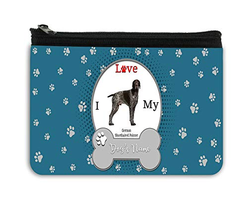 (BRGiftShop Personalized Custom Name I Love My Dog German Shorthaired Pointer Neoprene Coin Purse)