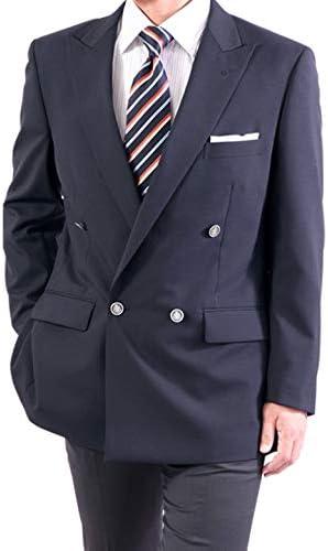 紺ブレザー ダブルブレステッド 4つボタン メンズ 春夏 ネイビージャケット