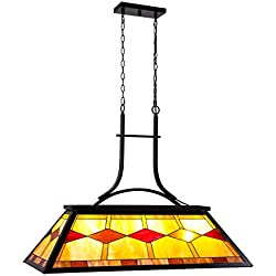 CO-Z Billiard Pool Table Light, 3-Light 3Lt Hanging Pendant Lighting Fixture, 3 Lights Kitchen Island Chandelier, Antique Bronze Finish Billiards Light with Tiffany-Style Shade