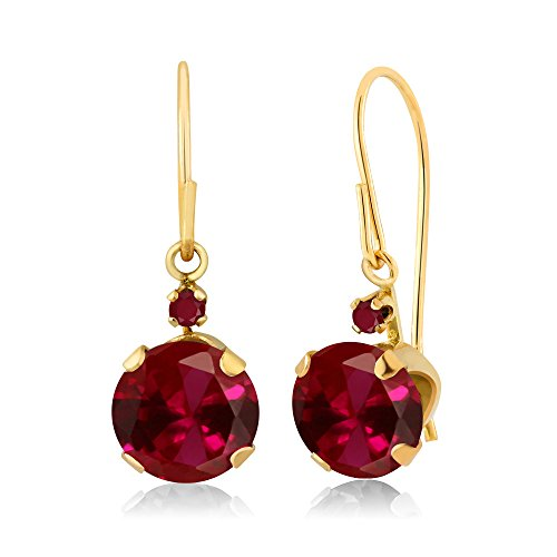 2.04 Ct Round Red Created Ruby Red Ruby 14K Yellow Gold Women's Earrings ()