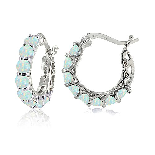 Sterling Silver Simulated White Opal Small Round Huggie Hoop Earrings ()