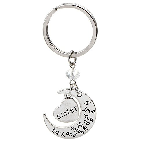 "Silver Tone ""Sister I Love You To The Moon and Back"" Heart Pendant Keychain"