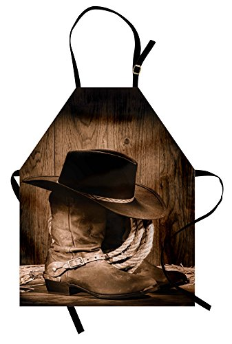 Ambesonne Western Apron, Wild West Themed Cowboy Hat and Old Ranching Rope On Wooden Display Rodeo Cowboy Style, Unisex Kitchen Bib Apron with Adjustable Neck for Cooking Baking Gardening, Brown