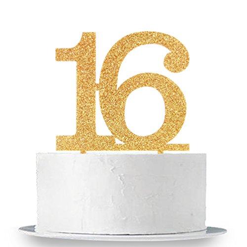 INNORU Sweet 16 Cake Topper - 16th Birthday Wedding Anniversary Party Decoration Supplies