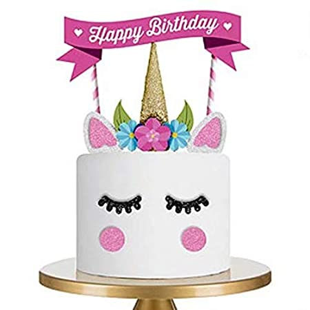 Peachy Unicorn Cake Toppers Happy Birthday Party Cake Decorations For Funny Birthday Cards Online Inifofree Goldxyz