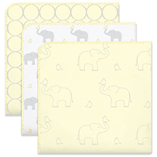 SwaddleDesigns Ultimate Swaddle Blankets, Set of 3, Mod Circles and Elephants, Sunwashed Yellow ()