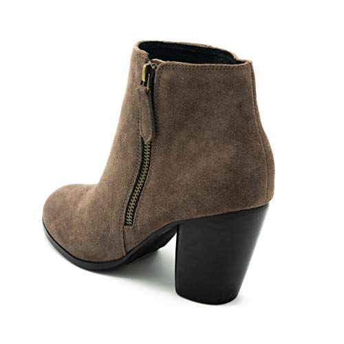 Grey Zoe City Taupe with Toe Outside Shape Ankle Stacked Heel with Boots Rounded Zipper and r1rqxwU