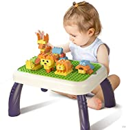 TUMAMA 150 Pcs Large Brick and Activity Table Sets, Kids Toys Big Building Block Learning Table, Animals Const