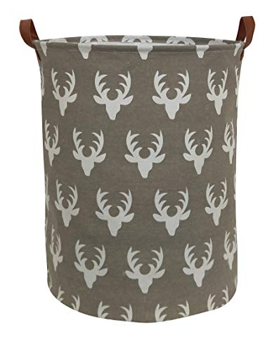 (HIYAGON Large Sized Storage Baskets with Handle,Collapsible & Convenient Home Organizer Containers for Kids Toys,Baby Clothing(Deer Pattern))