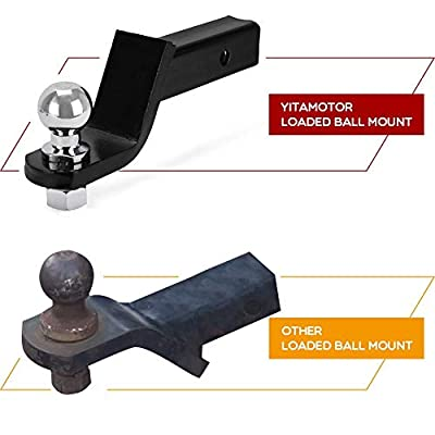 YITAMOTOR Trailer Hitch Ball Mount with 2-Inch Trailer Ball & Hitch Pin Clip Fits 2-Inch Receiver (6,000 lb. GTW, 4 Inch Drop): Automotive