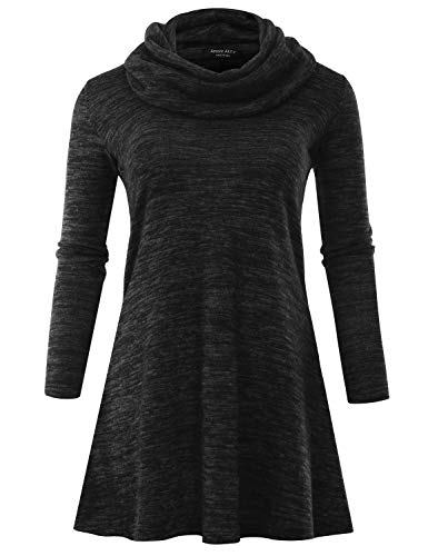 A.F.Y Women's Marled Cowl Neck Plus Size Tunic Sweater Dress (Made in USA) Black XX-Large