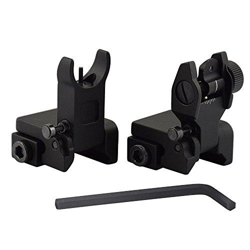 OTW Flip Up Iron Sights Flip Up Front Sight + Back Up Rear Sight Mounts Set for Gun Rifle Handgun Airsoft by OTW