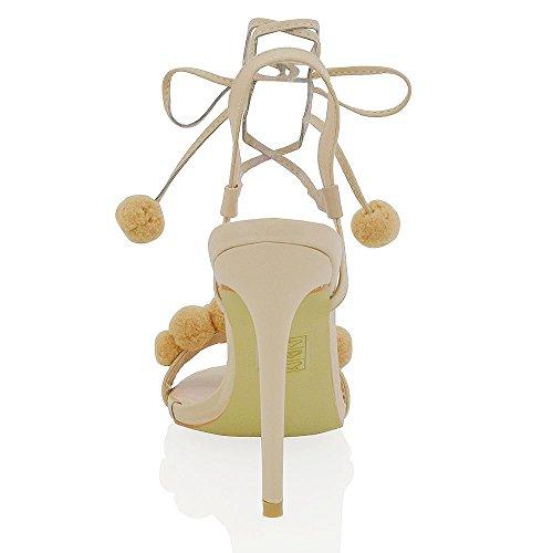Essex Glam Kvinners Stiletthæl Pom Pom Snøring Binde Syntetiske Sandaler Naken Syntetisk Lær