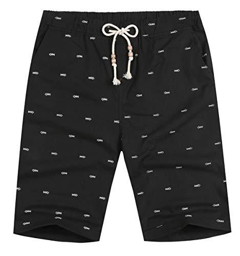 NITAGUT Men's Linen Casual Classic Fit Short (XS(US 28-31), Black Fish)