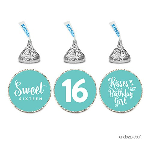 Andaz Press Chocolate Drop Labels Trio, Fits Hersheys Kisses, Sweet 16 Birthday, Diamond Blue, 216-Pack, for Robins Egg Blue Party Decorations