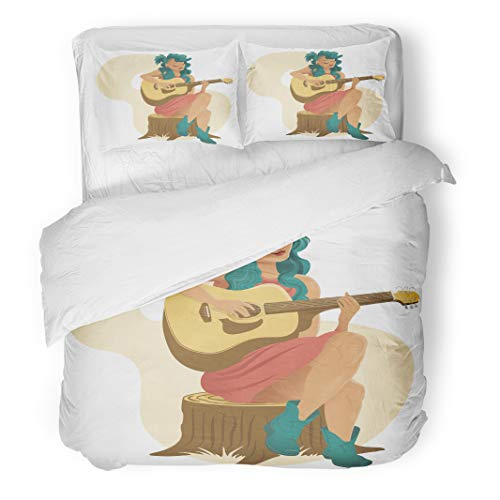 - Tinmun 3pcs Duvet Cover Set Queen/Full Size Blue Acoustic Girl Sat Playing Guitar Band Beautiful Bluegrass Brushed Microfiber Fabric Bedding Set Cover
