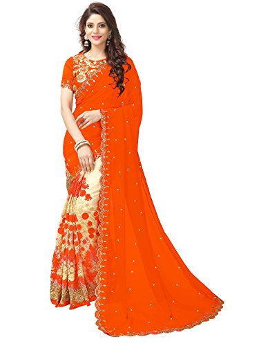 Mohit Creations Partywear Embroidered Georgette Saree with Unstitched Blouse (Orange)
