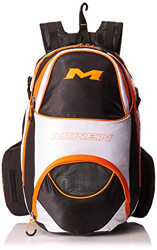 - Miken Players XL Backpack (with 4 Bat Slots and Fence Hook), Black/White/Orange