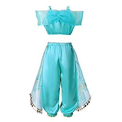 Pettigirl Girls Princess Dress Up Costume Teal & Gold Outfit: Clothing