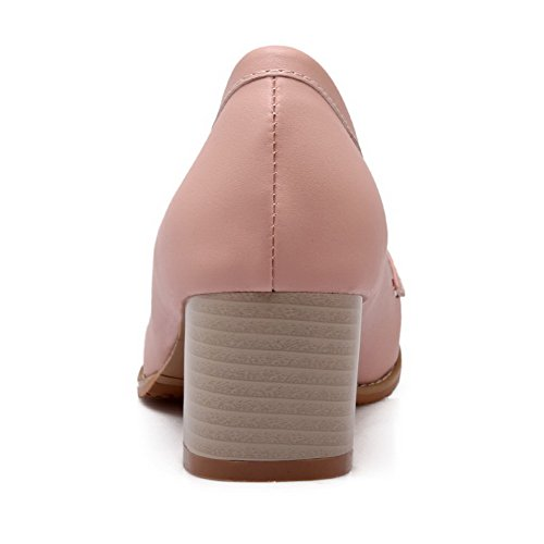 VogueZone009 Women's Kitten-Heels Soft Material Solid Pull-On Closed Round Toe Pumps-Shoes Pink CLmaJ