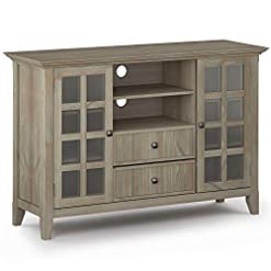 Farmhouse Living Room Furniture SIMPLIHOME Tall TV Media Stand, 53 inch Wide, Farmhouse Rustic, Storage Shelves and Cabinets Simpli Home Acadian SOLID… farmhouse tv stands