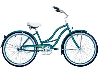 "Women's Tahiti 26"" Beach Cruiser Coaster Brake Stainless Steel Spokes One Piece Crank Alloy Turquoise Rims 36H W/ Fenders Color: Turquoise"
