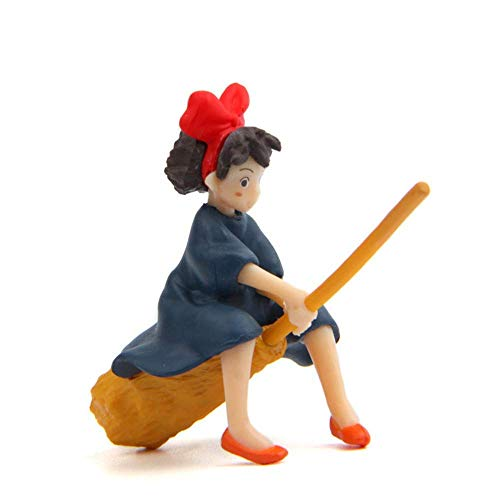 Paul Bec Kiki's Delivery Service Girl Figurines Toy, Studio Ghibli Miyazaki Kiki's Delivery Service Girl with Broom Action Figure Toys for Children Gift for Miniature Garden Decoration