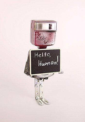 (Robot sculpture, Found Object Robot, robot art, lamp, Assemblage art sculpture, Recycled Materials)