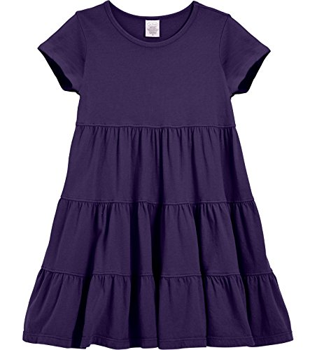 City Threads Little Girls' Super Soft Cotton Short Sleeve Tiered Dress for School Park Play and Party, Purple, 5 ()