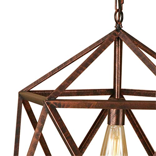 ChuanHan Ceiling Fan Light Chandelier Lightings Polygon Iron Cages Rust Color Led Pendant E27 110 220 Hanging Ing Fixture for Kitchen Living Room Bedroom Chandeliers - Finish Natural Chandeliers Rust