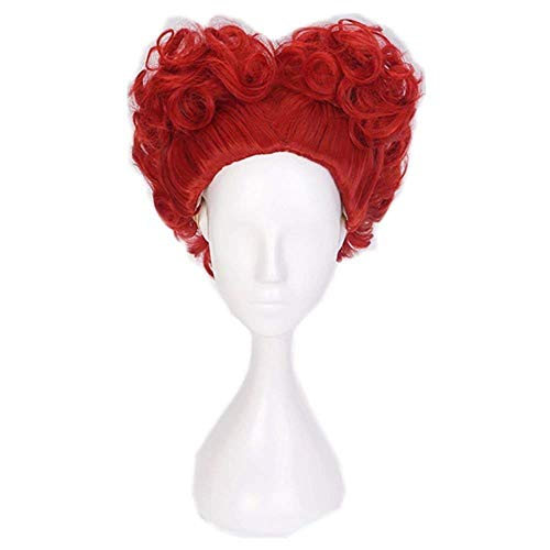 COSPLAZA Lovely Prestyled One Piece Short Curly Wave Anime Red Heart Girls Theme Party Cosplay Costume Wigs -