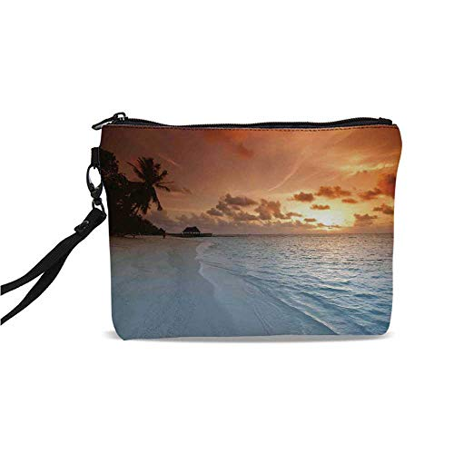 (Ocean Simple Cosmetic Bag,Image of an Exotic Beach with Golden Color Sand and Wave in the Sea Palms on Sunset Summer Land for Women,9