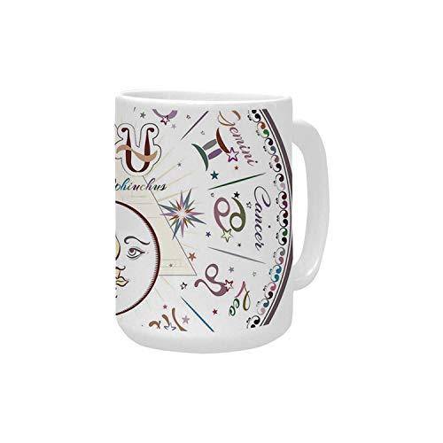 Zodiac Decor Ceramic Mug,Western Chart with All Signs Aries Virgo Leo Taurus Libra Mystique Fate Calendar for Home,15OZ