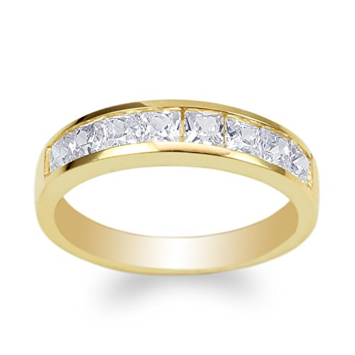 JamesJenny Ladies Yellow Gold Plated Square CZ Channel Band Ring Size 4-10