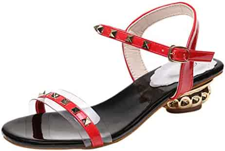 03df1eae8afb Memela Clearance sale Womens Sandals Summer Shoes Block Heel Open Toe Ankle  Strap Sandals Rivet Buckle