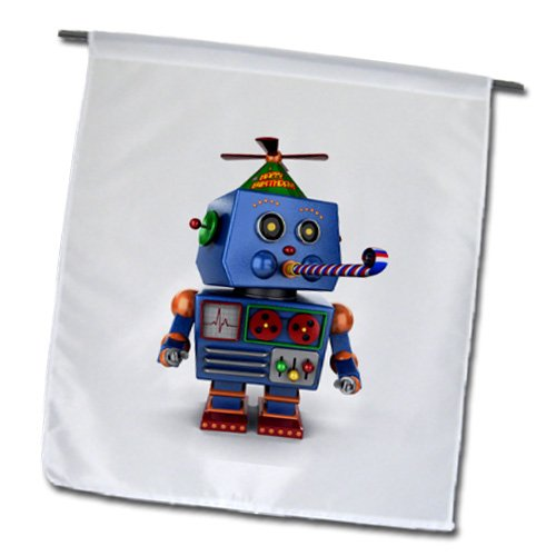 3dRose fl_155164_1 Vintage Toy Robot with Birthday Party Hat Blowing a Party Favor Celebration Cute Funny Event Garden Flag, 12 by - Favor Warehouse.com