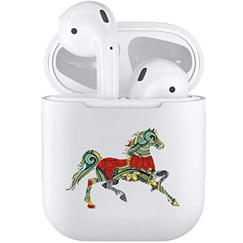 Silicone TPU Cute Accessories Holder Case Cover Skin with Keychain Compatible with Airpods Air Pods 1 2 Horse (Horse Headphones)