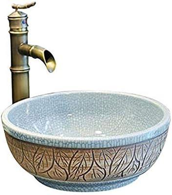 クラシック洗面シンク景徳鎮セラミックホテルアンチスプラッシュ洗面蛇口セットラウンドバスルーム