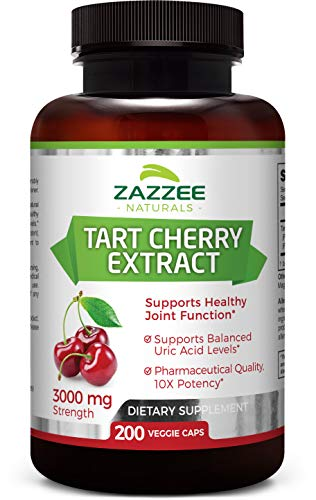Tart Cherry Extract 200 Veggie Caps | 3000 mg Strength | Potent 10:1 Extract | Over 6-Month Supply | Non-GMO, Vegan & All-Natural | Extra Strength Uric Acid Cleanse for Healthy Joints | Made in USA (Caps 200 Support)
