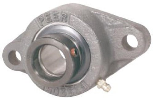 Peer Bearing PER HCFTS208-24 2 Bolt Flange Unit, Cast Iron, Wide Inner Ring, Relubricable, Eccentric Locking Collar, Single Lip Seals, 1-1/2\' Bore, 5-21/32\' Center Length 1-1/2 Bore 5-21/32 Center Length