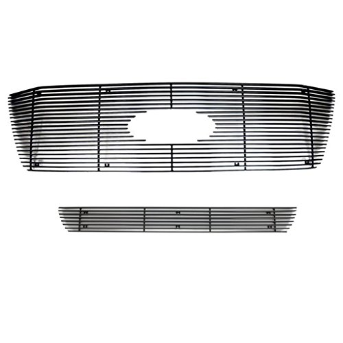 ntal Overlay Billet Grille Aluminum All Black 4mm Combo Kit (Includes 1PC Upper Billet Grille & 1PC Bumper Billet Grille) for 06-08 Ford F-150 XLT / Lariat (38-5102B) (Horizontal Billet Grille)